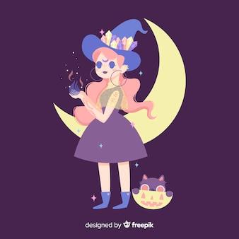 Jolie sorcière d'halloween au design plat