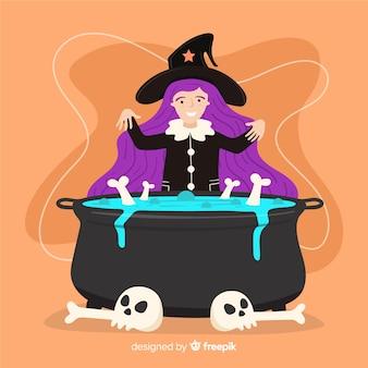 Jolie sorcière d'halloween aux cheveux longs