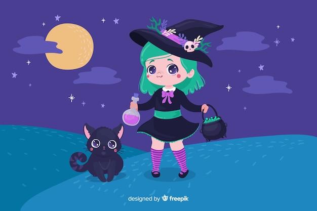 Jolie sorcière d'halloween avec un chat