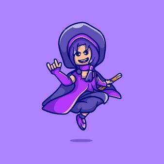 Jolie sorcière d'halloween chevauchant un balai volant