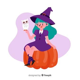 Jolie sorcière d'halloween avec hibou