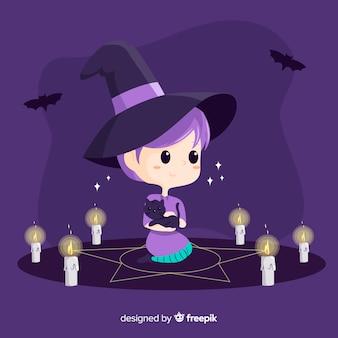 Jolie sorcière d'halloween avec sort