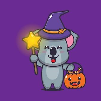 Jolie sorcière koala transportant des bonbons d'halloween illustration vectorielle de dessin animé mignon d'halloween