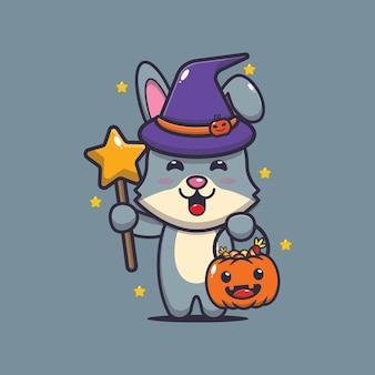 Jolie sorcière de lapin avec une baguette magique portant une citrouille d'halloween illustration mignonne de dessin animé d'halloween