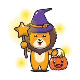 Jolie sorcière lion avec une baguette magique portant une citrouille d'halloween illustration mignonne de dessin animé d'halloween