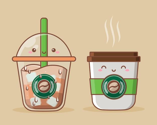 Jolie tasse de café froid et chaud