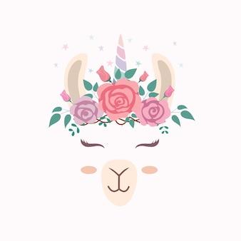 Jolie tête de lama avec corne de licorne.