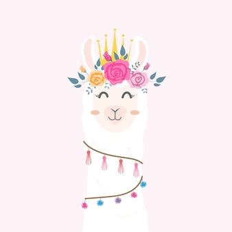 Jolie tête de lama avec une couronne de fleurs.