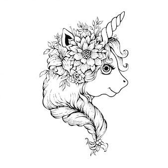 Jolie tête de licorne magique