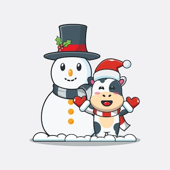 Jolie vache avec bonhomme de neige illustration de dessin animé mignon de noël