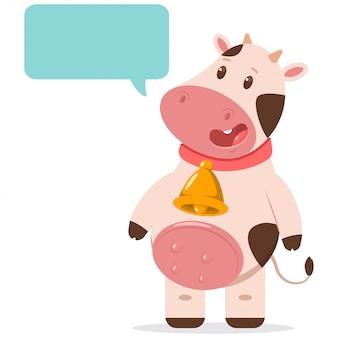 Jolie vache en cloche d'or avec bulle de dialogue