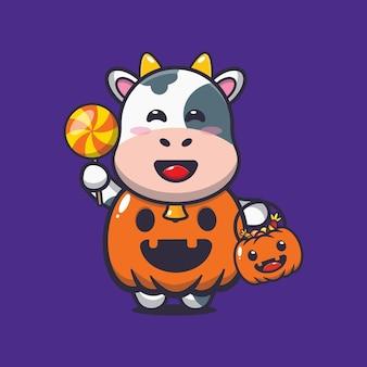 Jolie vache avec un costume de citrouille d'halloween illustration mignonne de dessin animé d'halloween