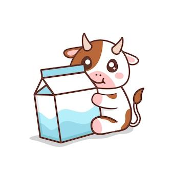 Jolie vache avec du lait en carton isolé sur blanc