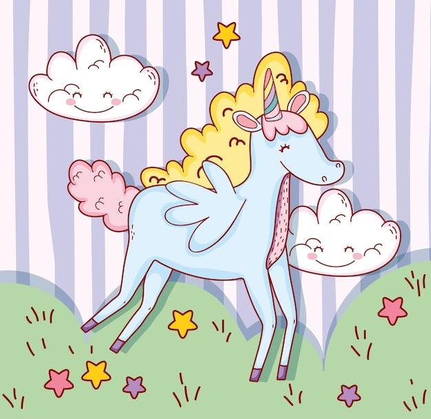 Jolies ailes de licorne avec nuages et étoiles