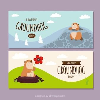 Les jolies bannières de jour de la marmotte