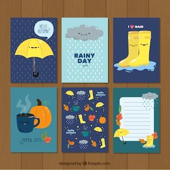 De jolies cartes avec des motifs d'automne