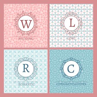Jolies cartes roses avec des monogrammes