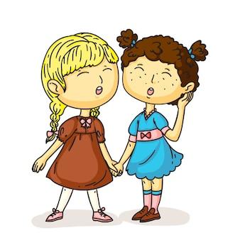 Jolies filles d'âge préscolaire chantant la chanson debout main dans la main les uns avec les autres
