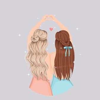 Les jolies filles font le cœur avec leur main. jolie conception de cheveux. concept d'amitié heureux. appartement isolé.