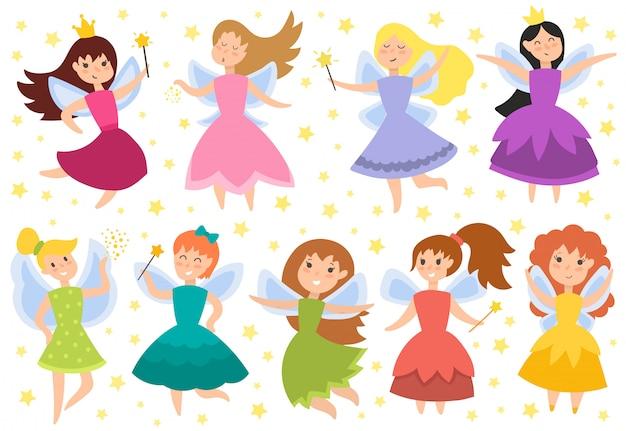 Jolies filles en illustration vectorielle mouche