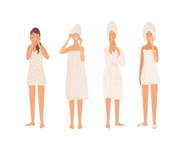 Jolies filles nettoyant la peau, lavant, hydratant, appliquant un masque de beauté
