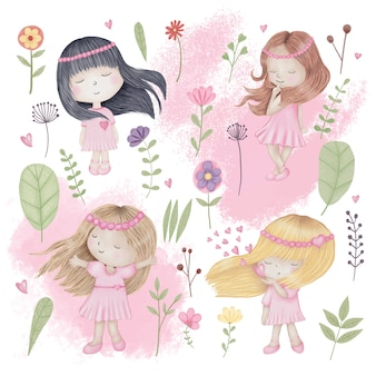 Jolies filles sertie de fleurs