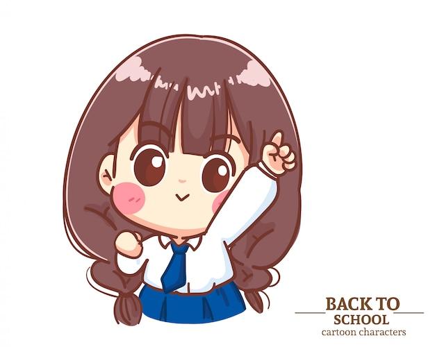 Jolies filles uniformes d'étudiants pour enfants lèvent la main et pointent le doigt vers l'école. illustration de dessin animé vecteur premium