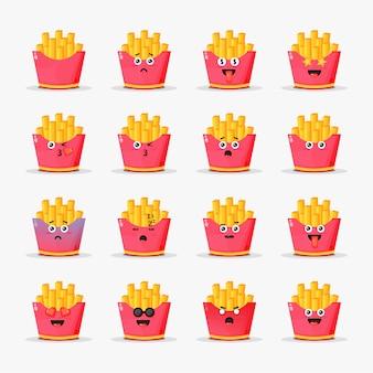 Jolies frites avec jeu d'émoticônes