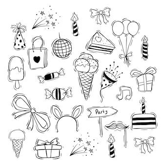Jolies icônes de joyeux anniversaire avec crème glacée, bonbons et ballon