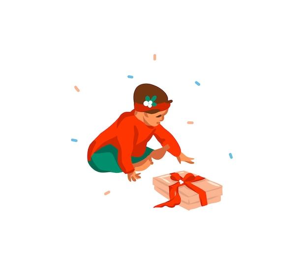 Jolies illustrations du premier bébé fille noël isolé