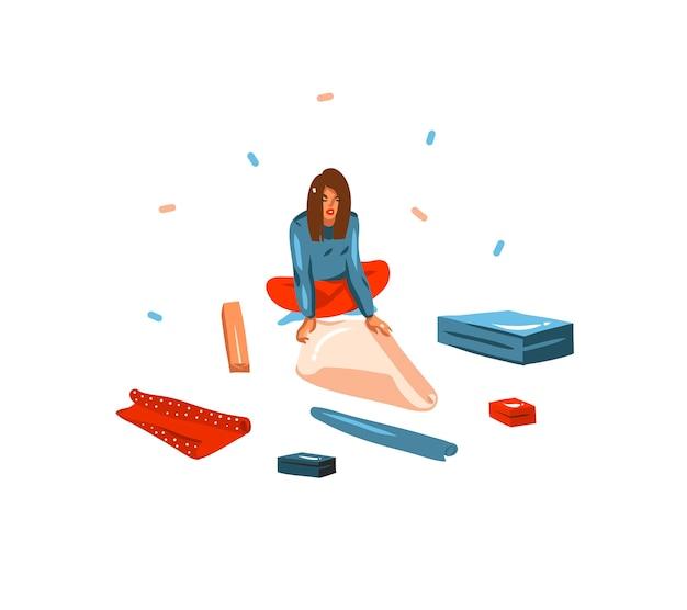 Jolies illustrations de fille emballant des cadeaux de noël isolés