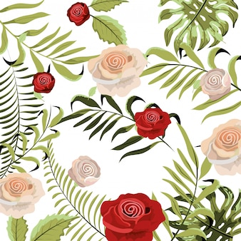 Jolies roses exotiques aux feuilles de braches