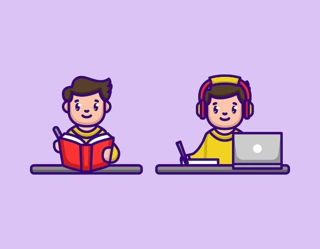 Jolis garçons étudient et travaillent à la maison