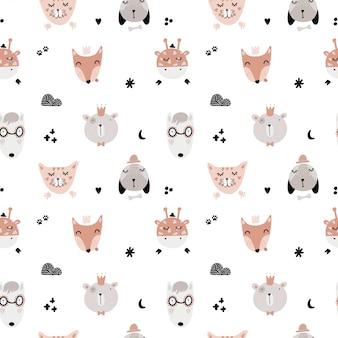 Jolis motifs scandinaves sans couture avec des animaux.