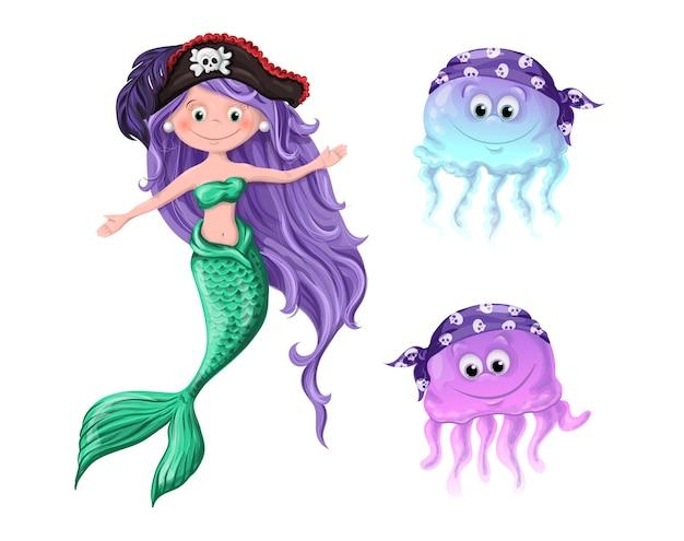 De jolis personnages une méduse de sirène dans des chapeaux de pirates.
