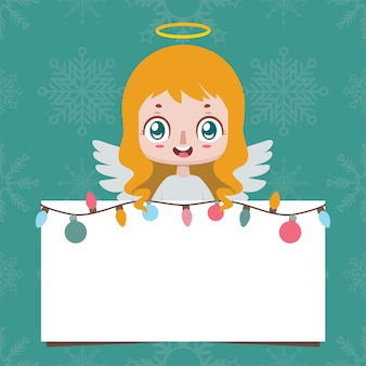 Jolly angel brandissant une pancarte vierge