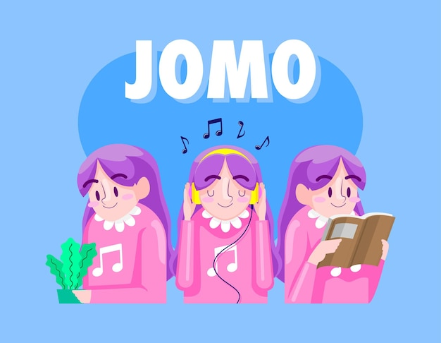 Jomo cartoon illustration, joie de manquer