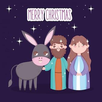 Joseph et marie avec la crèche de l'âne, joyeux noël