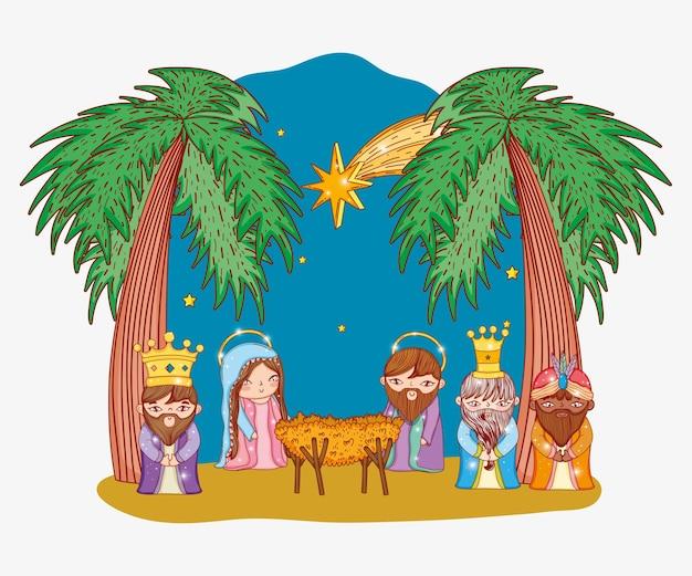 Joseph et mary avec trois rois et berceau