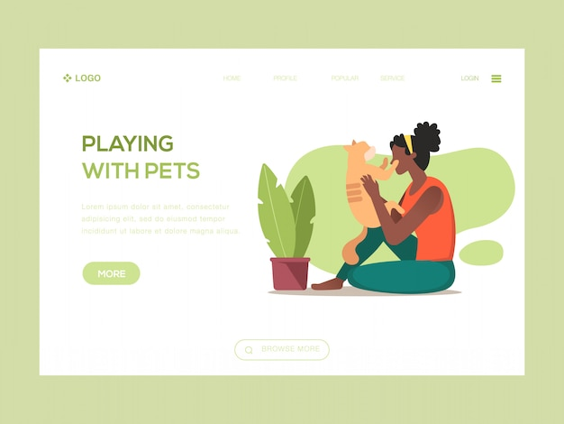 Jouer avec des animaux domestiques illustration web