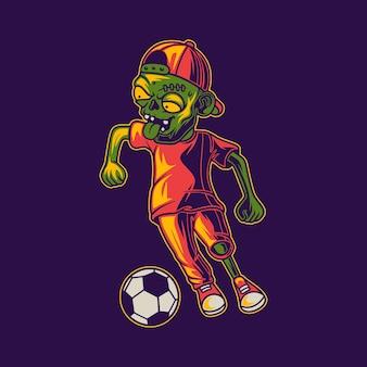Jouer au ballon dans une illustration de zombie en position de dribble en zigzag