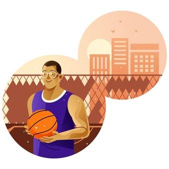 Jouer au basket sur le terrain extérieur