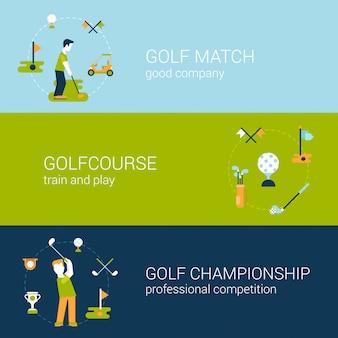 Jouer au golf club de sport parcours professionnel championnat et compétition concept design plat illustrations set.
