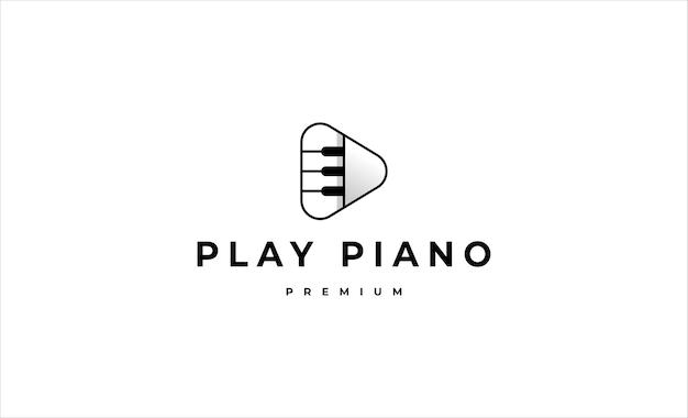Jouer au piano bouton logo vector design illustration