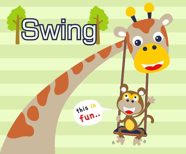 Jouer au swing avec des animaux de bande dessinée