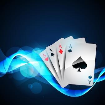 Jouer aux cartes sur un beau fond bleu brillant