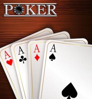 Jouer aux cartes sur fond en bois