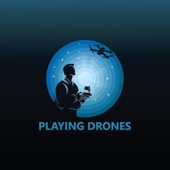 Jouer à la conception de modèle de logo de drones
