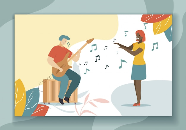 Jouer de la guitare passe-temps et chanter illustration plate