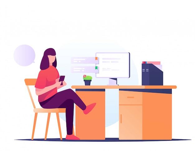 Jouer handphone sur illustration de bureau